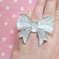 Huge Decoden Bling Silver Rhinestone Bow Ring