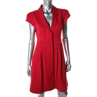 Nanette Lepore Womens Solid Short Sleeves Wear to Work Dress