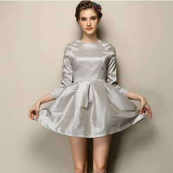 Plain Sleeve A-Line Pleated Skater Dress