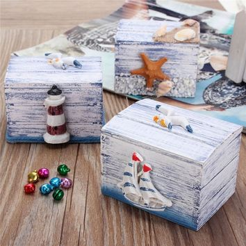 Cute Sea Style Jewelry Display Wooden Case Ring Necklace Earring Storage Box Gifts