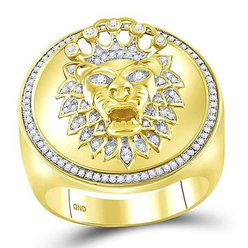 10kt Yellow Gold Men's Round Diamond Lion Crown Cluster Ring 3/8 Cttw - FREE Shipping (US/CAN)