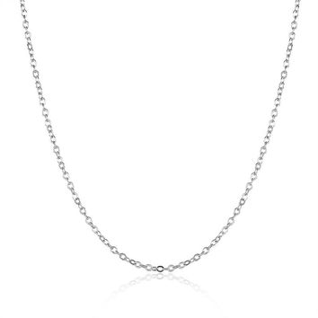 18K White Gold Round Cable Chain Diamond Pendant Necklace