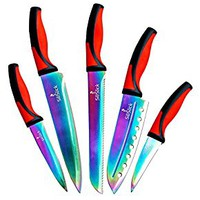 SiliSlick 5 Piece Titanium Coated Stainless Steel Kitchen Set of Rainbow Knives, Each Knife Comes in Clear Sheath for your Safety, Red/Burgundy/Black
