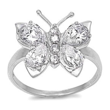 925 Sterling Silver CZ Butterfly Hera Ring 7MM