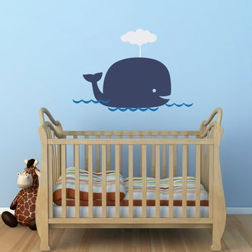 Big Whale Decal - Whale Decal Set with water - Nursery Wall Stickers - Whale Wall Sticker - Large