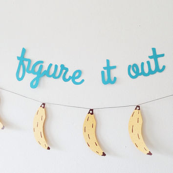 Blue paper word garland / figure it out paper banner / party banner