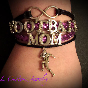 Infinity/Love FOOTBALL MOM Rhinetone Suede/Leather Multistrand Bracelet w/ Megaphone - Football, Dance, Hockey, Sport Mom, Music, sports