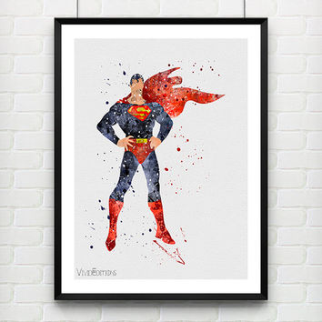 Superman Watercolor Art Print, Marvel Superhero Watercolor Poster, Boys Room Wall Art, Home Decor, Not Framed, Buy 2 Get 1 Free! [No. 126]