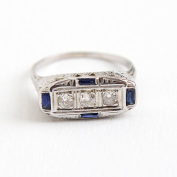 Antique 18k White Gold Three Diamond & Sapphire Ring - Vintage Art Deco 1920s Size 7 3/4 Engagement Fine Filigree Blue Gem Jewelry