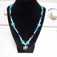 Frozen snowflake elsa bubblegum necklace chunky  necklace toddler jewelry girls jewelry