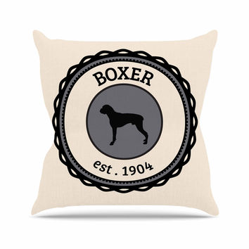 "KESS Original ""Boxer"" Dogs Beige Throw Pillow"