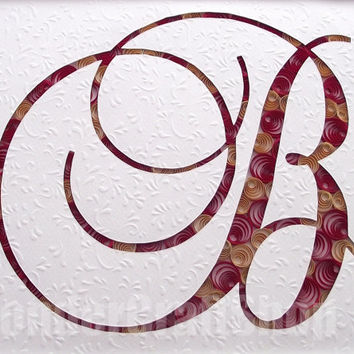 letter wall art, b letter, dark red and cappuccino, quilled letter, embossing, framed art, framed letter, custom letter, cut out letter