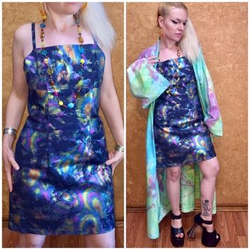 🍀 90s oil slick rainbow hologram dress vintage