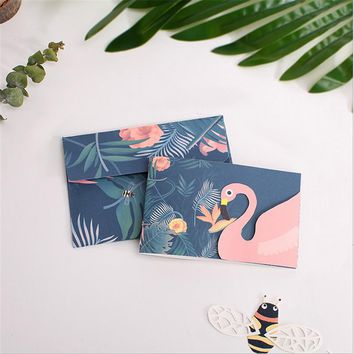 4pcs Creative Flamingo Festive Birthday Blessing Card  with Envelope  Thank You/ Greeting Cards & Invitations Wedding Party-B