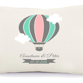 Hotair baloon wedding pillow, 2nd anniversary , Personalized pillow, Anniversary gift, two year anniversary, pillow with a text (19)