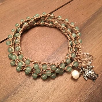 Crocheted Adventurine Beaded Wrap Bracelet - Sea Turtle and Freshwater Pearl - Boho Beach
