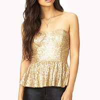 FOREVER 21 Showstopper Sequined Bustier Gold Small