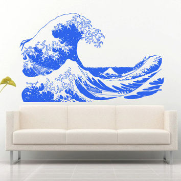 Wall decal art decor decals sticker wave water ocean sea mountain landscape bathroom design mural (m933)