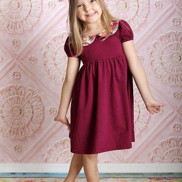 Peter Pan Collar Short Sleeve Dress Plum Floral Collar