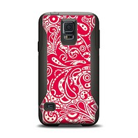 The Red Floral Paisley Pattern Samsung Galaxy S5 Otterbox Commuter Case Skin Set
