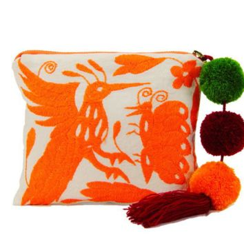 Handcrafted Orange Otomi Pouch