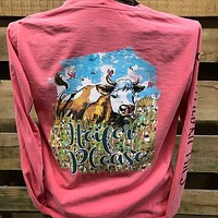 Southern Chics Heifer Please Cow Comfort Colors Girlie Long Sleeve Bright T Shirt