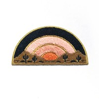 """Sundown Chenille Patch, Iron-On Patch, 4"""" Accessory. Cactus Patch, Western, Desert Inspired, Sunset, Southwest, Cacti. Gift Idea."""