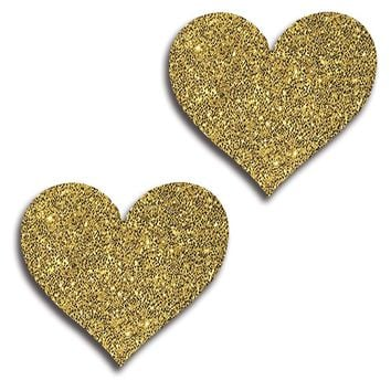 Gold Glitter Self Adhesive Flat Heart Pasties. (One Size,Gold)