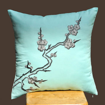 Cherry Blossom Throw Pillow CoverGray Blue Flower by KainKain