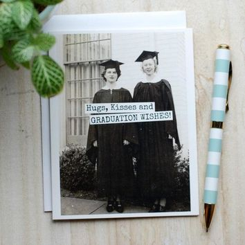 Hugs, Kisses And GRADUATION WISHES Funny Vintage Style Happy Graduation Congratulations Greeting Card FREE SHIPPING