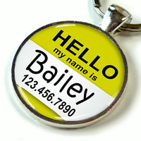 Metal Pet Tag Pet ID Dog Tag Hello My Name Is