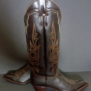 Justin Brown Leather Western Cowgirl Cowboy Boots Women's Size 5.5