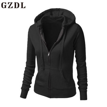 GZDL Casual Women Hoodie Hooded Zip-up Sweatshirt Fashion Women's Long Sleeve Slim Fit Solid Pockets Front Sweatshirts CL3584