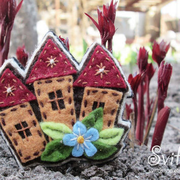 Tiny Houses Felt Brooch | Fiber Textile Brooch | Textile Jewelry | Idea for Gift | Spring Colors | Creative Unusual Pin | Fairy Broach