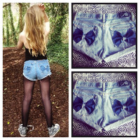 Distressed Denim Bow Shorts  by AngeliqueMerici on Etsy