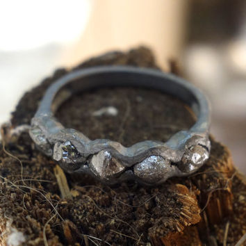 Rough Diamond Oxidized Silver Ring Raw Diamond Engagement Ring Unique Diamond Wedding Ring Cocktail Ring Unusaual Eternity ring Multistone