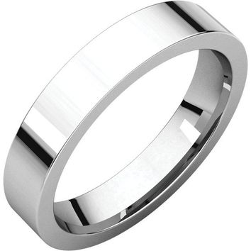 14K X1 White 4mm Flat Comfort Fit Wedding Band Ring - Bridal Jewelry
