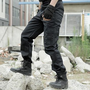 Tactical Cargo Pants Men Army Military SWAT Pants Combat Paintball Male Casual Many Pockets Work Thin Black Cargo Trousers 4XL