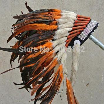 21 Inch High Orange Indian Feather Headdress Native American Costume War Bonnet Feather Hat Cosplay Costumes Supplies - Beauty Ticks
