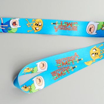 Lot 12pcs cartoon Japanese anime Adventure Time Key Lanyard Badge ID Cards Holders Neck Straps with Keyring Gifts Party Favors