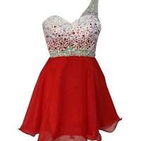 Staychicfashion Womens One Shoulder White Red Ombre Beaded Top Prom Dress Short