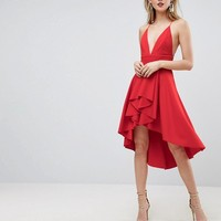 ASOS TALL Cami Deep Plunge Skater Mini Dress at asos.com