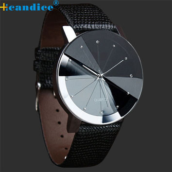 Quartz Sport Military Stainless Steel Dial Leather Band Wrist Watch Men and women