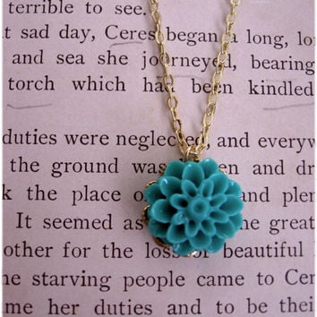 The Allie Delicate Turquoise Blue Flower Necklace by sodalex