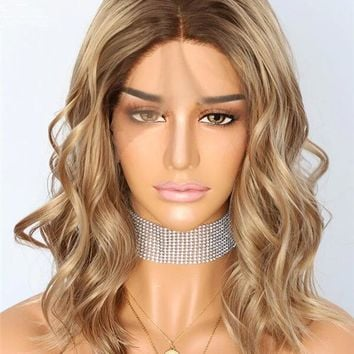 Short Sandy Brown Medium Golden Ombre Wave Synthetic Lace Front Wig