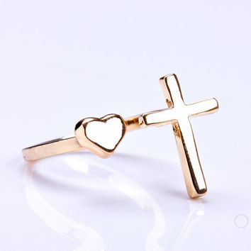 """Gold cross ring, gold heart ring, Sideways Cross Ring, gold double ring, adjustable ring, infinity cross ring, stretch ring, """"Telchines"""""""
