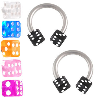 Players Dice Circular Barbell Horseshoe [Gauge: 16G - 1.2mm / Diameter: 8mm / Ball Size: 3mm] 316L Surgical Steel (White) & Acrylic (Various...