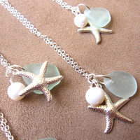 Seafoam beachglass starfish necklace with swarovski pearl - perfect nautical gift for BFFs sisters beach lovers or yourself - FREE SHIPPING