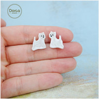 West Westie Highland Terrier Pet Lovers Gift Ceramic Studs