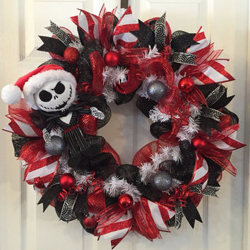Nightmare Before Christmas,Jack Skellington Wreath,Christmas Mesh Wreath,Christmas Wreath,Front Door Christmas,Holiday Wreath,Christmas Mesh